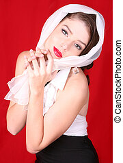 Woman Wearing a Scarf on Her Head - Beautiful High Fashion...