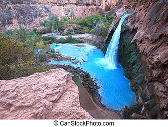 Havasu Falls in Havasupai Indian Reservation - Grand Canyon,...