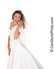 Bride Showing Her Large 3 Carat Diamong Ring - Bride Showing...