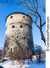 Winter view of fortress towers Tallinn. Estonia - Winter...