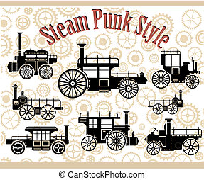 Vintage cars - A set of silhouettes of vintage cars in the...