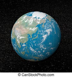 Japan on earth - 3D render - Japan on earth and universe...