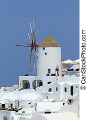 Old windmill at Oia, Santorini, Greece