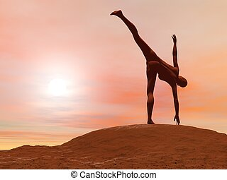 Half moon pose, ardha chandrasana - 3D render - Young woman...