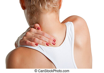 Back Pain - Young woman with pain in the back of her neck,...