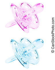 Blue and pink pacifier