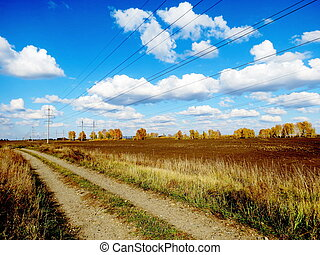 The dirt road passes on fields of