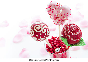 Cake pops - Fancy cake pops decorated for Valentine's day.