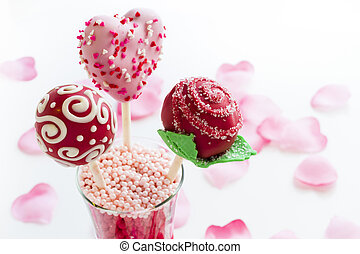 Cake pops - Fancy cake pops decorated for Valentines day