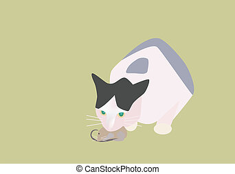 Cat catching a mouse - Vector illustration of cat catching a...