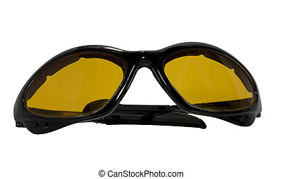 Orange bicycle sunglasses with ultraviolet protective lenses