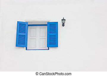 Blue open window with copy space.