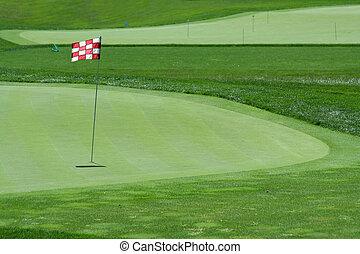 golf, drapeau, vert