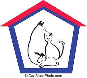 Veterinary pets logo - House pets or veterinary animals...