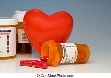 Prescription Medication - A heart and bottles of...