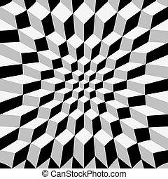 Abstract op art - Abstrat warped cube background, op art