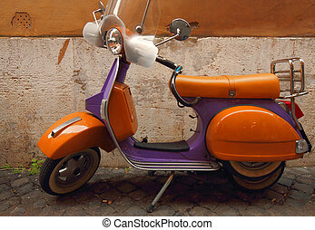 Italian yellow and purple scooter - Vespa an Italian vintage...
