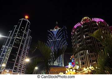 The Gaming Industry of Macao - MACAU - FEB 20:Casino Lights...