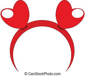 Red headband heart vector illustration