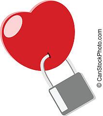Heart lock love concept vector illustration