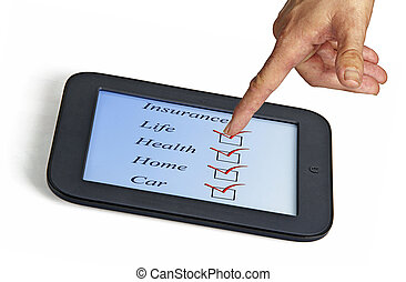 Selecting insurance on tablet PC