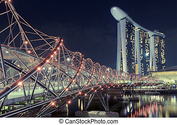 Helix bridge - pedestrian Helix bridge in Singapore with...
