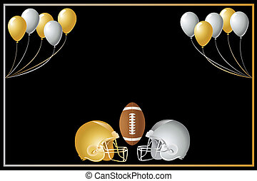Football Gold Silver Design - Vector Illustration of a gold...