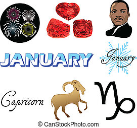 January Icons - Vector Illustration of eight January Icons...