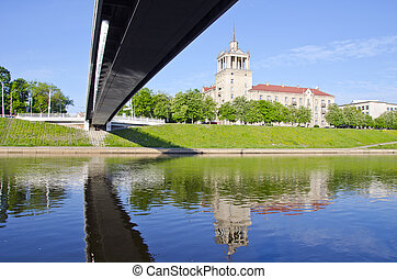 new bridge and old house in Vilnius, capital Lithuania