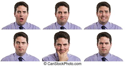 Many faces of a business man - A compositeimage of multiple...
