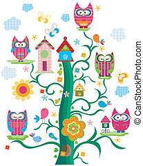 owls tree - colorful owls tree