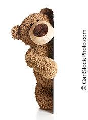 の後ろ, 白, 板, 熊, テディ