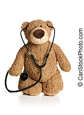 teddy bear with stethoscope on white background