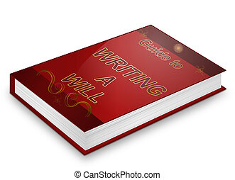 Writing a will concept. - Illustration depicting a book with...