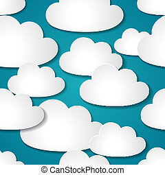 Seamless background with paper clouds.