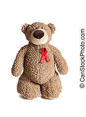 teddy bear with red ribbon aids awareness