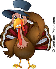 A turkey with a hat - Illustration of a turkey with a hat on...