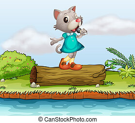 A female cat singing - Illustration of a female cat singing