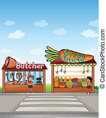 A butcher shop and a fruit stand - Illustration of a butcher...