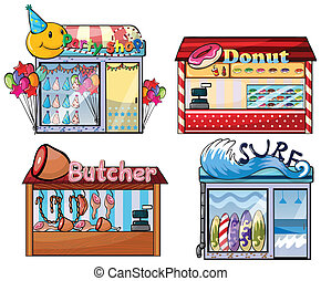 Shops set - Illustration of a set of shops
