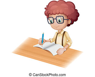 A nerd boy writing - Illustration of a nerd boy writing on a...