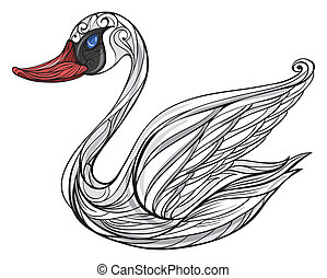 A sad swan - Illustration of a swan on a white background