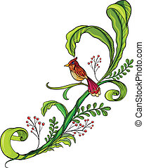 A border with a bird - Illustration of a border with a bird...