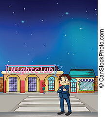 A boy standing across a night club - Illustration of a boy...