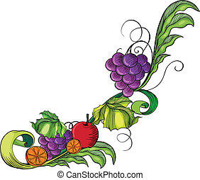 A fruity border - Illustration of a fruity border on a white...