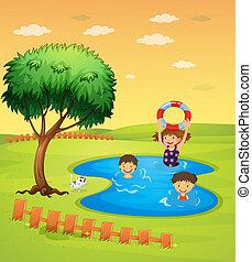 Kids enjoying in the pool