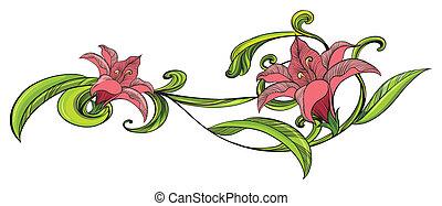 Vine flower border - Illustration of a vine flower border on...