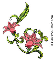 Pink and green border - Illustration of a pink and green...