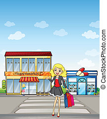 A pretty girl shopping - Illustration of a pretty girl...