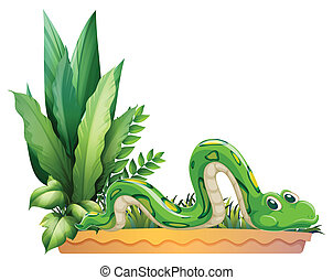A green snake - Illustration of a green snake on a white...